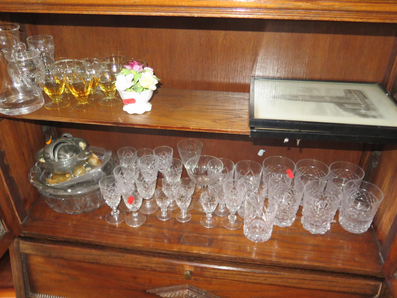 Lot 900 - Cut Crystal Water Tumblers, other glass, two pictures, brass bowl on stand, lamp etc.