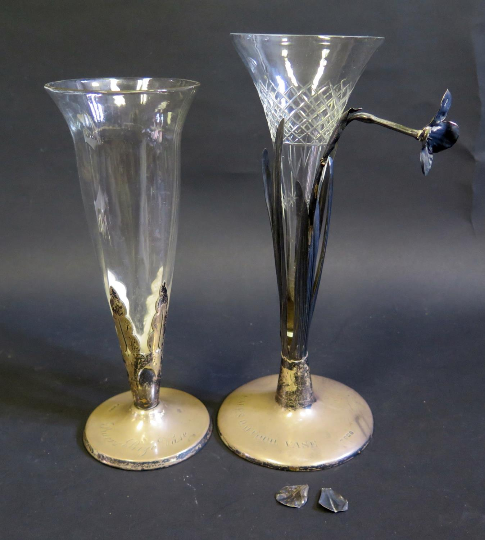 Lot 120 - A George V Silver Mounted Glass Presentation Vase 'Barr's Prize Vase', London 1910, Thomas