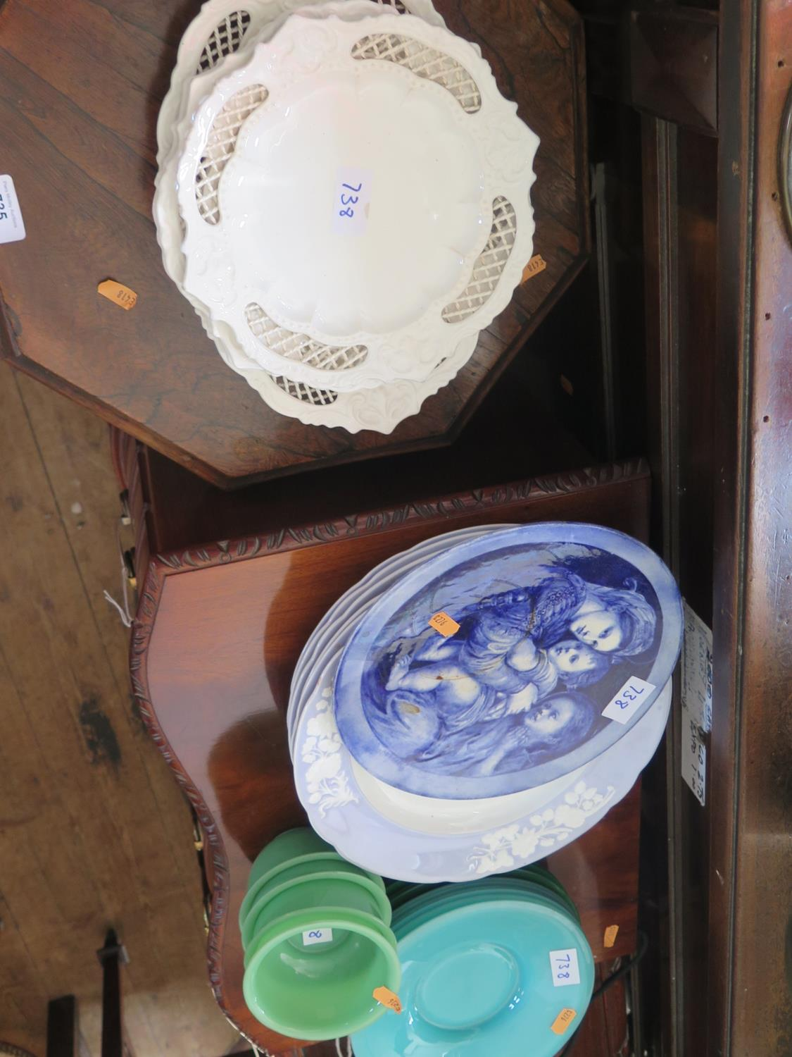 Lot 738 - Three Cranberry Glass Lamp Bases, coloured glass side plates, Spode dinner plates etc.