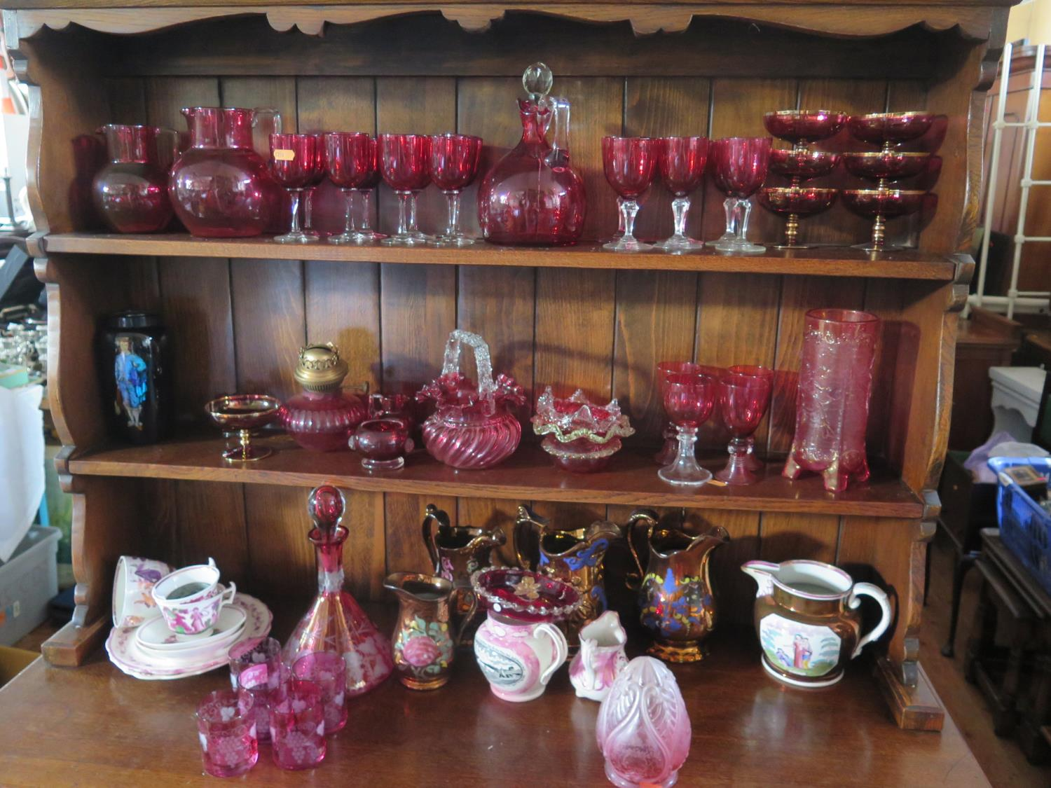 Lot 1035 - A Collection of Victorian Cranberry Glass etc.