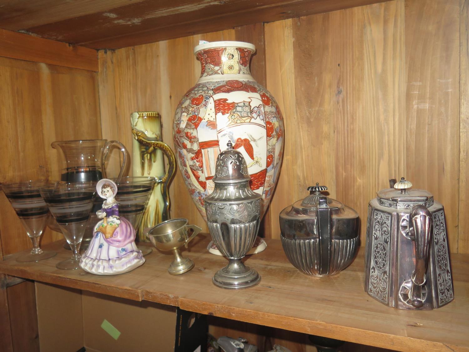Lot 933 - A Selection of Oddments including Silver Plate, pewter, Art Deco jug and glass set, Crown Devon