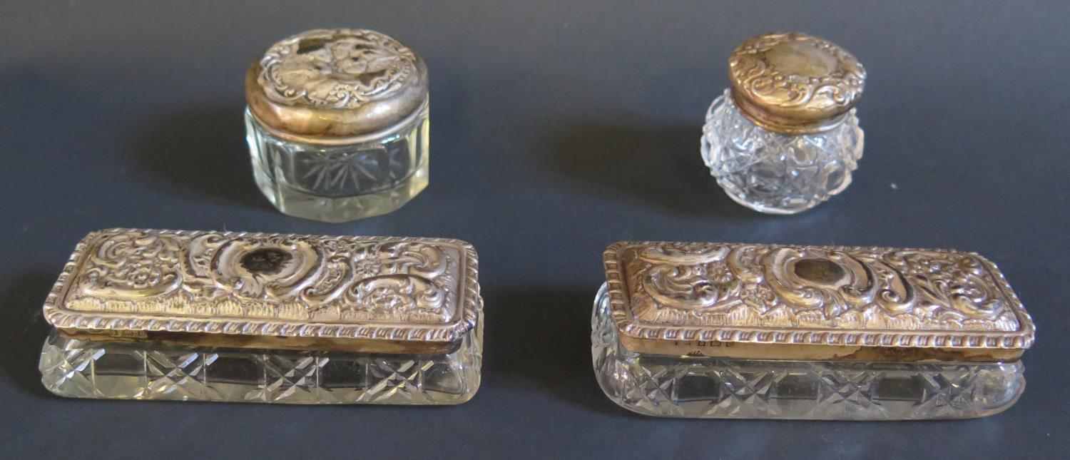 Lot 29 - A Pair of Edward VII Silver Mounted Cut Glass Dressing Table Boxes, Birmingham 1902 (9.5x4cm) and