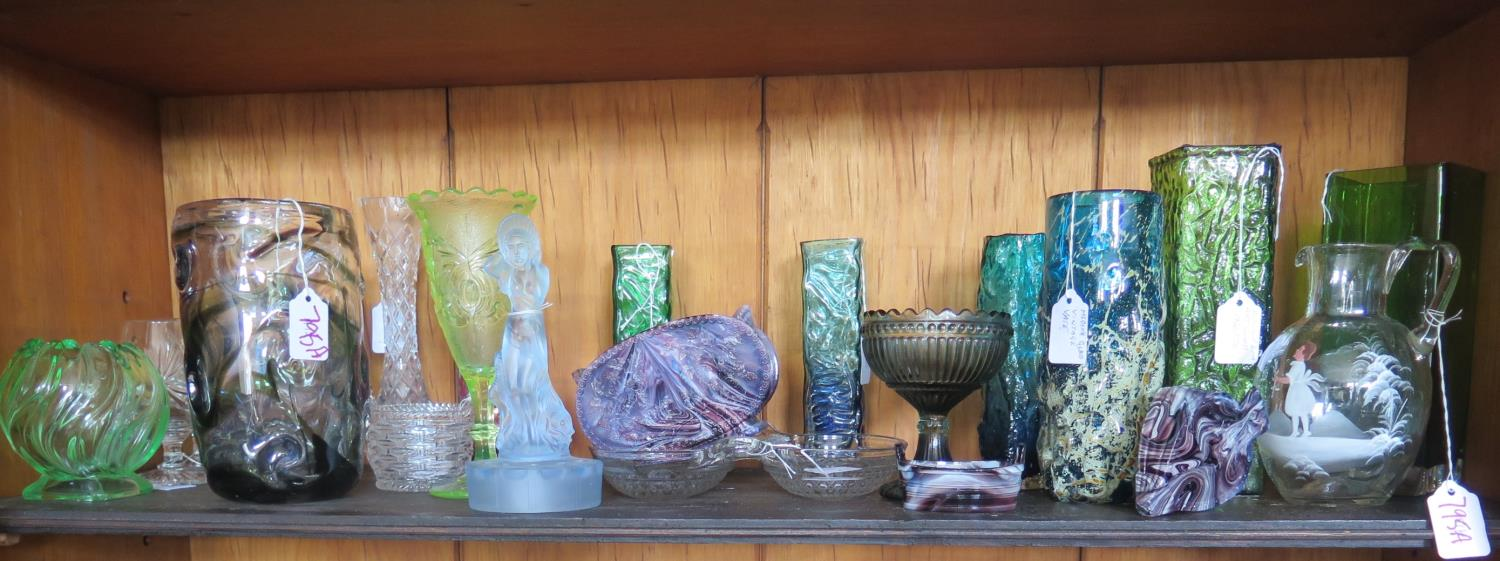Lot 795A - A Selection of Glass including Mdina, Mary Gregory jug, Victorian amethyst 'malachite' glass, Art