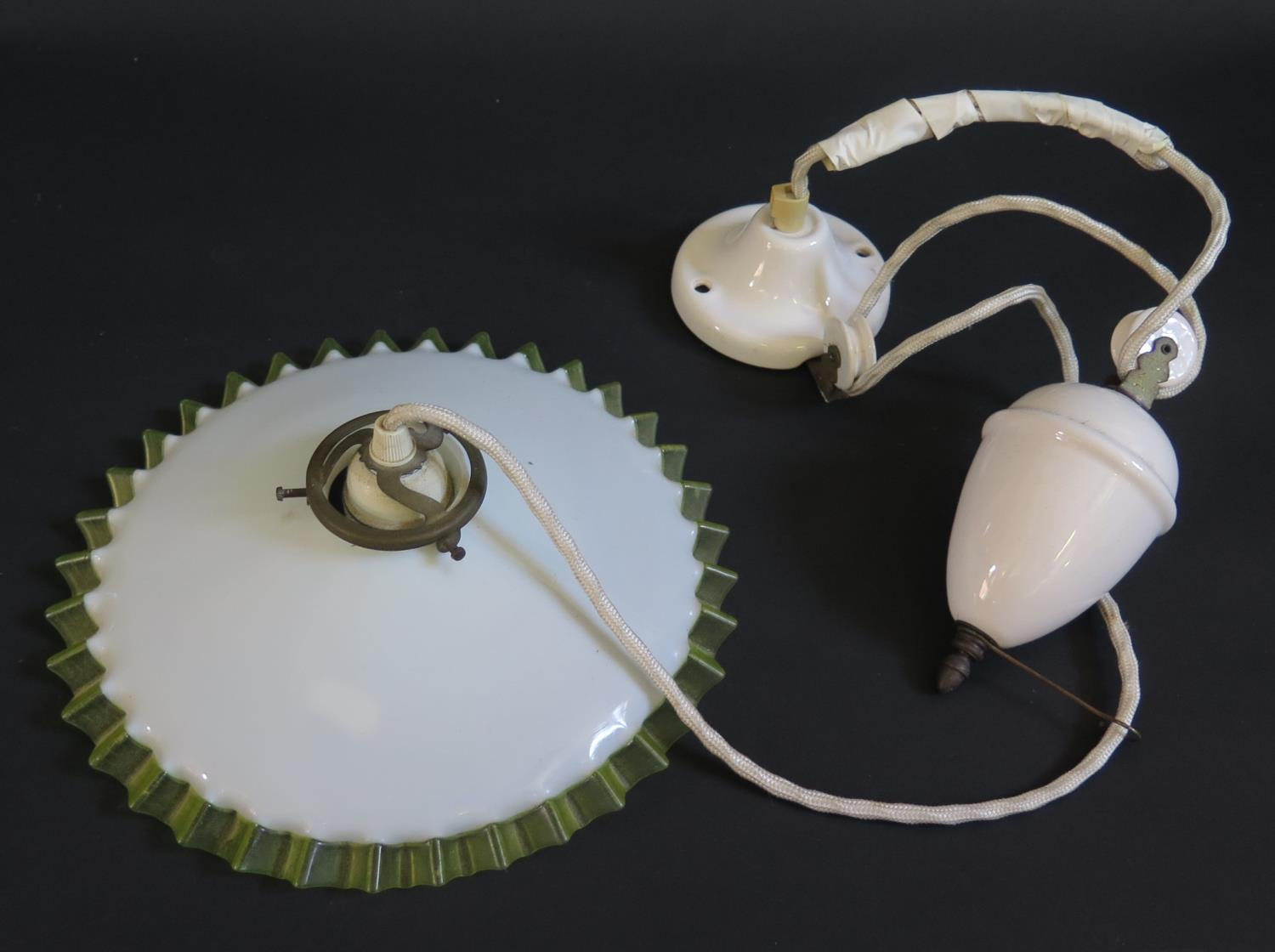 Lot 600 - A French Counter Weighted Ceiling Lamp Pendant with glass shade