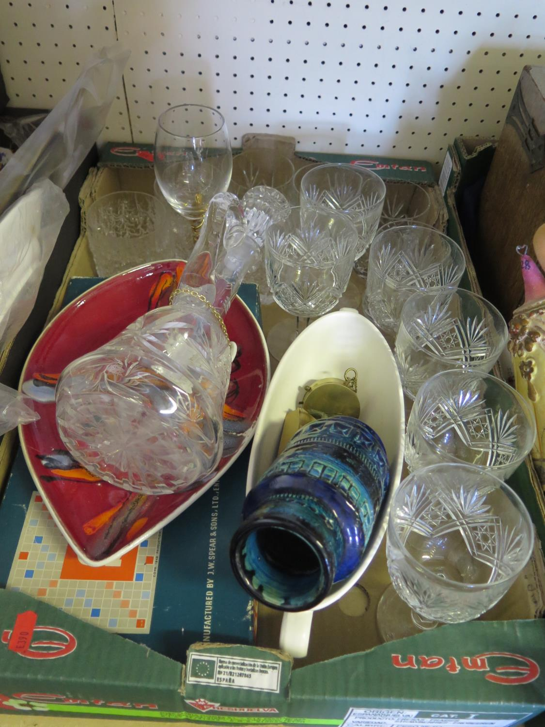 Lot 541 - A Poole Delphis Range Shaped Dish, glass including crystal decanter, Scrabble etc.