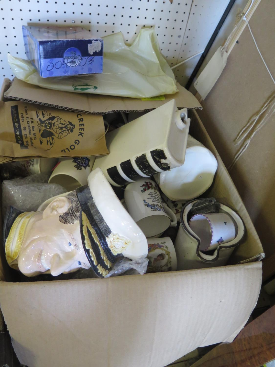 A Box of Victorian and later Royal Commemorative Mugs etc.