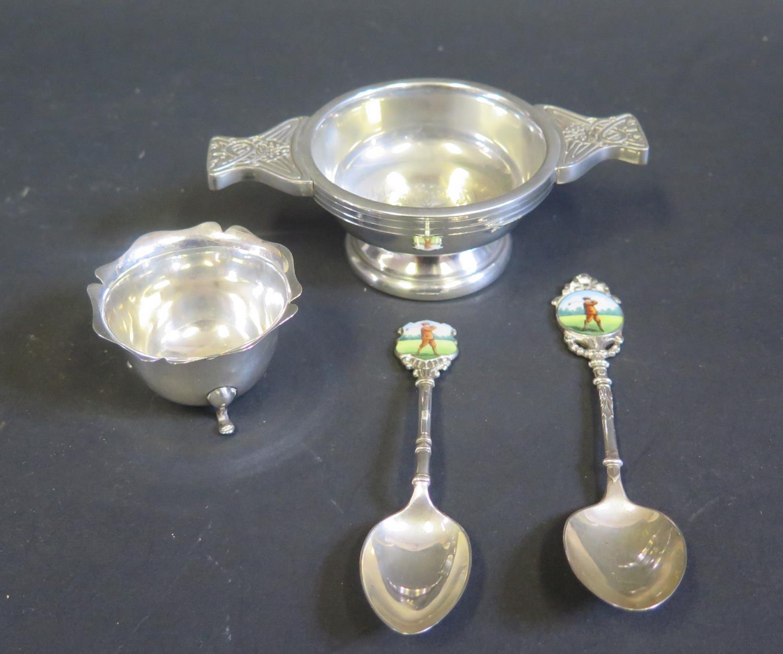 Two George V Silver Spoons with enamel golfing finials, Birmingham 1935, William Suckling Ltd.,