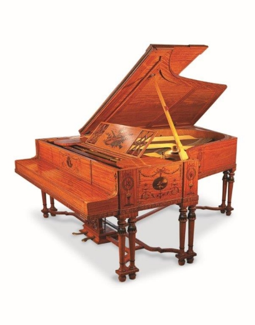 Lot 55 - Steinway (c1908) A 6ft 2in Model O grand piano in a painted satinwood art case of Adam Brothers