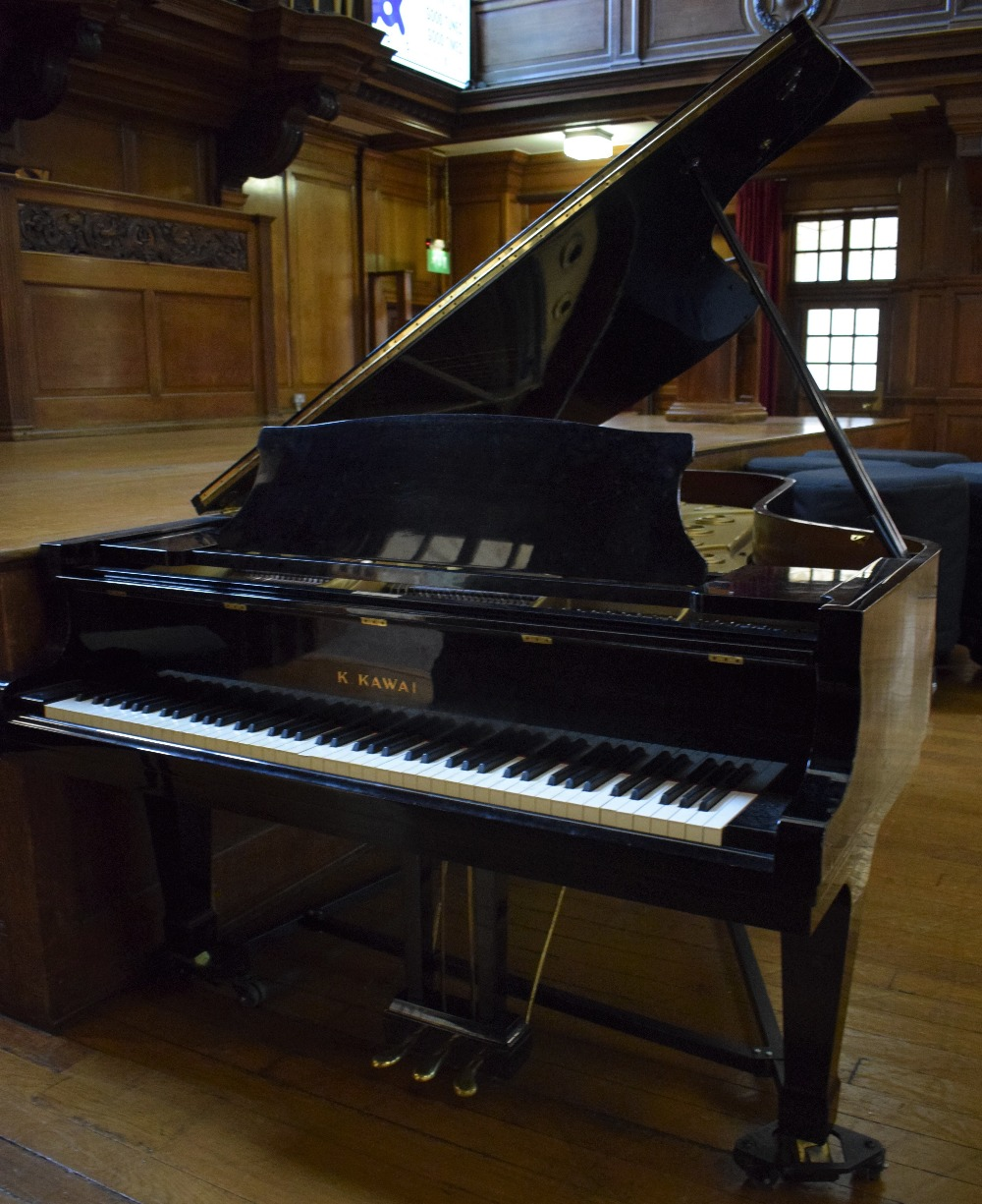 Lot 3 - Kawai (c1976) A 7ft 4in Model KG-6C grand piano in a bright ebonised case on square tapered legs.