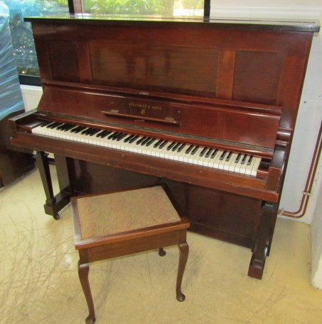 Lot 37 - Steinway (c1921) A Vertegrand upright piano in a mahogany case; together with a stool.