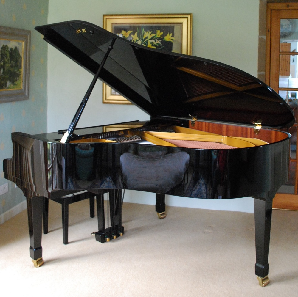 Lot 38 - Petrof (c2006) A 5ft 8in Model P4 grand piano in a bright ebonised case on square tapered legs;