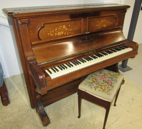 Lot 9 - Steinway (c1894) A Vertegrand upright piano in an inlaid rosewood case; together with a stool.