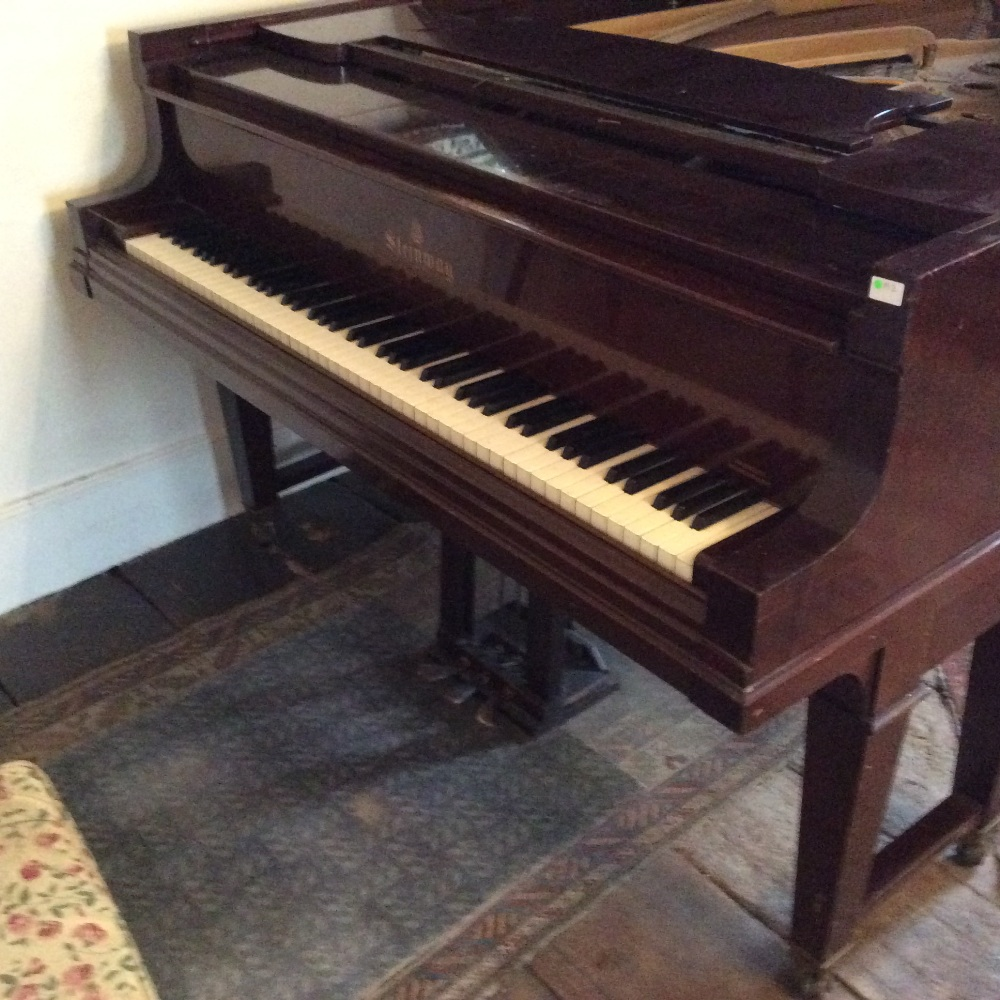 Lot 49 - Steinway (c1928) A 6ft 4in converted player piano in a mahogany case on dual square tapered legs.