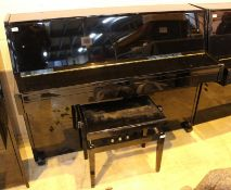 Weber (c2006) A 110cm upright piano in a bright ebonised case; together with a matching stool.
