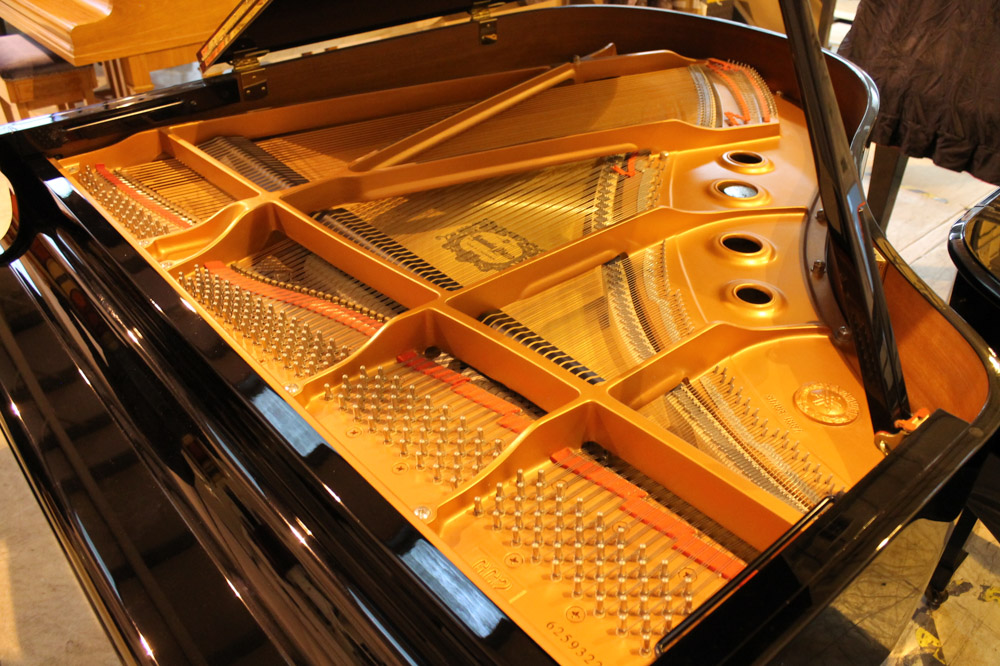 Yamaha (c2009) A 5ft 6in Model GC2 grand piano in a bright ebonised case on square tapered legs; - Image 7 of 8