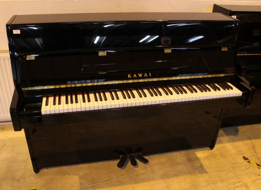 Kawai (c2007) A Model K-15 upright piano in a bright ebonised case; together with a stool. - Image 3 of 6