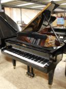Seiler (c2003) A 6ft grand piano in a bright ebonised case on square tapered legs.
