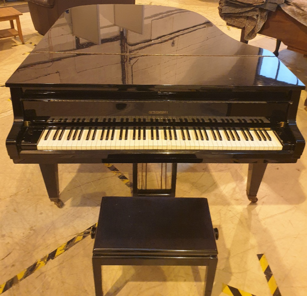 Schimmel (c1961) A 6ft 3in Model 190 grand piano in a bright ebonised case on square tapered legs;