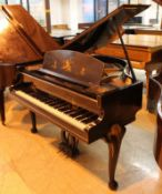Challen (c1936) A 4ft 6in grand piano in a black lacquered Chinoiserie case depicting Chinese