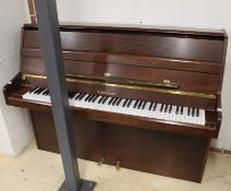 Woodchester A recent 112cm upright piano in a modern style satin mahogany case.