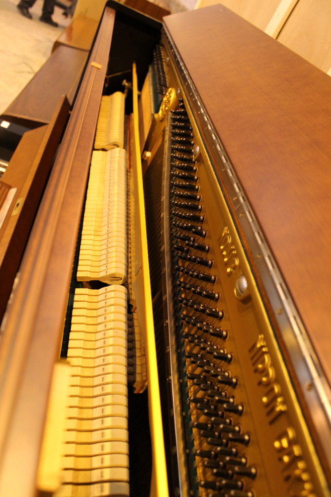 Yamaha (c1958) A Model U3B upright piano in a brown and black satin case. - Image 3 of 5