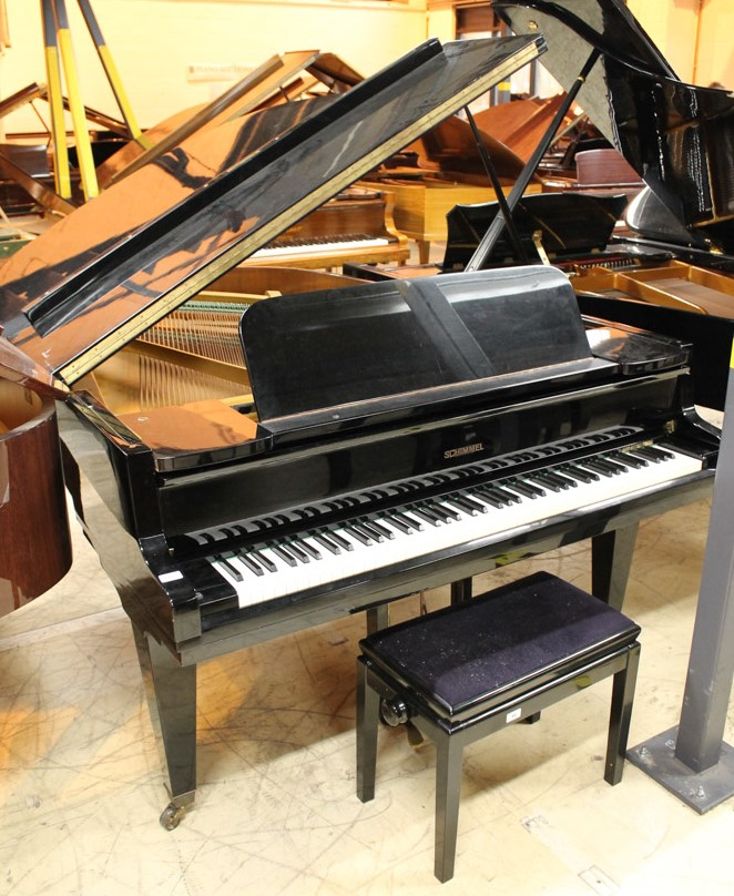 Schimmel (c1961) A 6ft 3in Model 190 grand piano in a bright ebonised case on square tapered legs; - Image 4 of 5