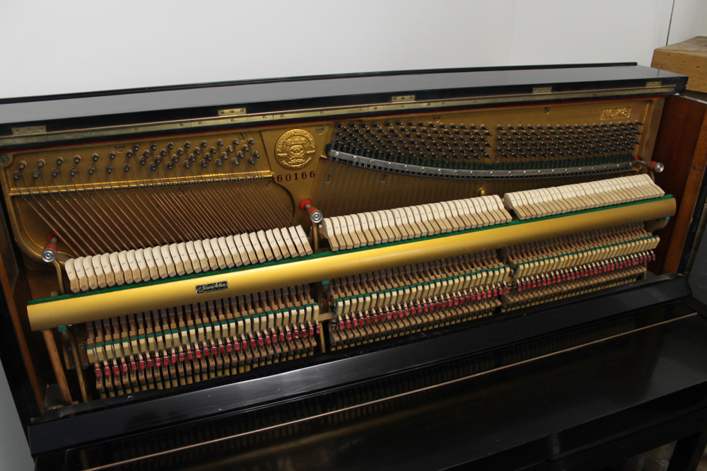 Kawai (c1962) An upright piano in a traditional style bright ebonised case - Image 2 of 5