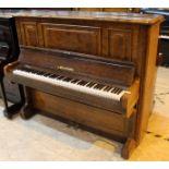 Bechstein (c1879) An upright piano in a figured walnut case.