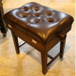 Piano Stool A concert adjustable piano stool with button upholstered leather top.