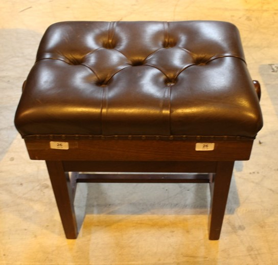 Piano Stool A concert adjustable piano stool with button upholstered leather top. - Image 2 of 2