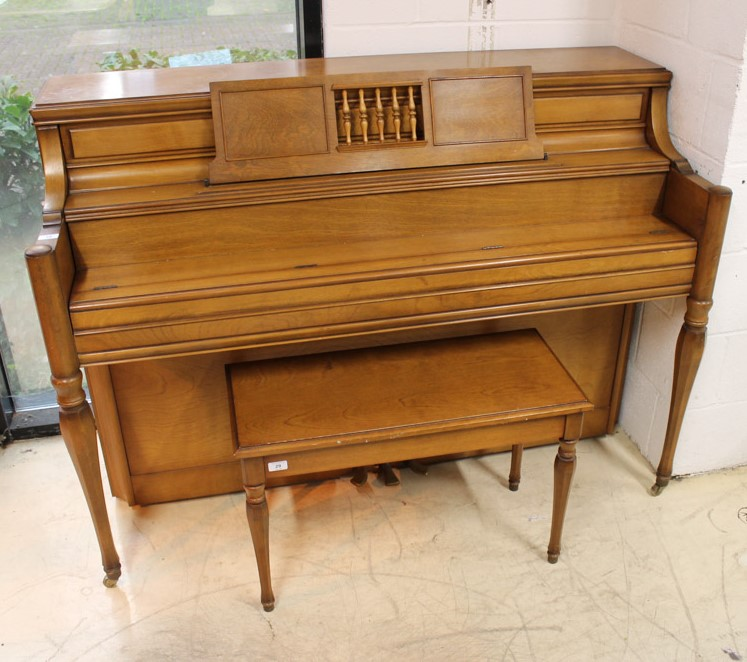Yamaha (c1971) An upright piano in an American 'spinet' style case; together with a matching stool. - Image 2 of 6