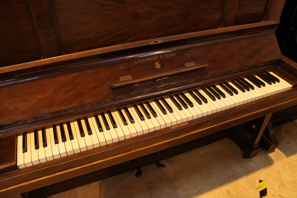 Steinway (c1925) A Model K upright piano in a mahogany case; - Image 3 of 6