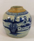 A Chinese blue and white ginger jar, decorated with a lake scene and fisherman, lid lacking, 15.