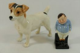 A Beswick Jack Russell Terrier, 16cm long, and a Royal Doulton figure 'Fat Boy',