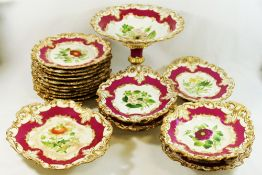 A mid 19th century Ridgway porcelain dessert service, hand painted with flowers,