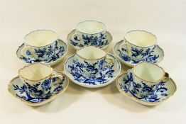 A small quantity of Meissen porcelain blue and white onion pattern tea and dinner ware,