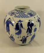 A 19th century Chinese blue and white porcelain vase of ovoid form, decorated with figures,