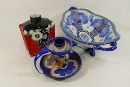 Three items of Carlton Ware comprised of a chamberstick, 10cm high,