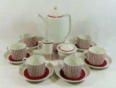 A Swedish Rorstrand 'Kadett' pattern red and white coffee set, for six place settings,