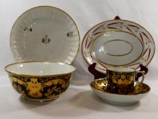 Five pieces of 18th century and later Derby porcelain comprised of a matching coffee can,