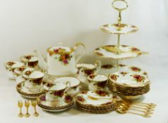 A Royal Albert 'Old Country Roses' bone china tea service comprised of six each of tea cups,