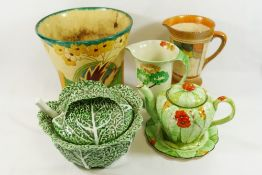 Five ceramic items comprised of a Crown Ducal jug,