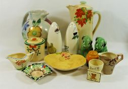 Assorted ceramic items from the 1930's - 1950's including a Clarice Cliff Bizzare 'Ravel' pattern
