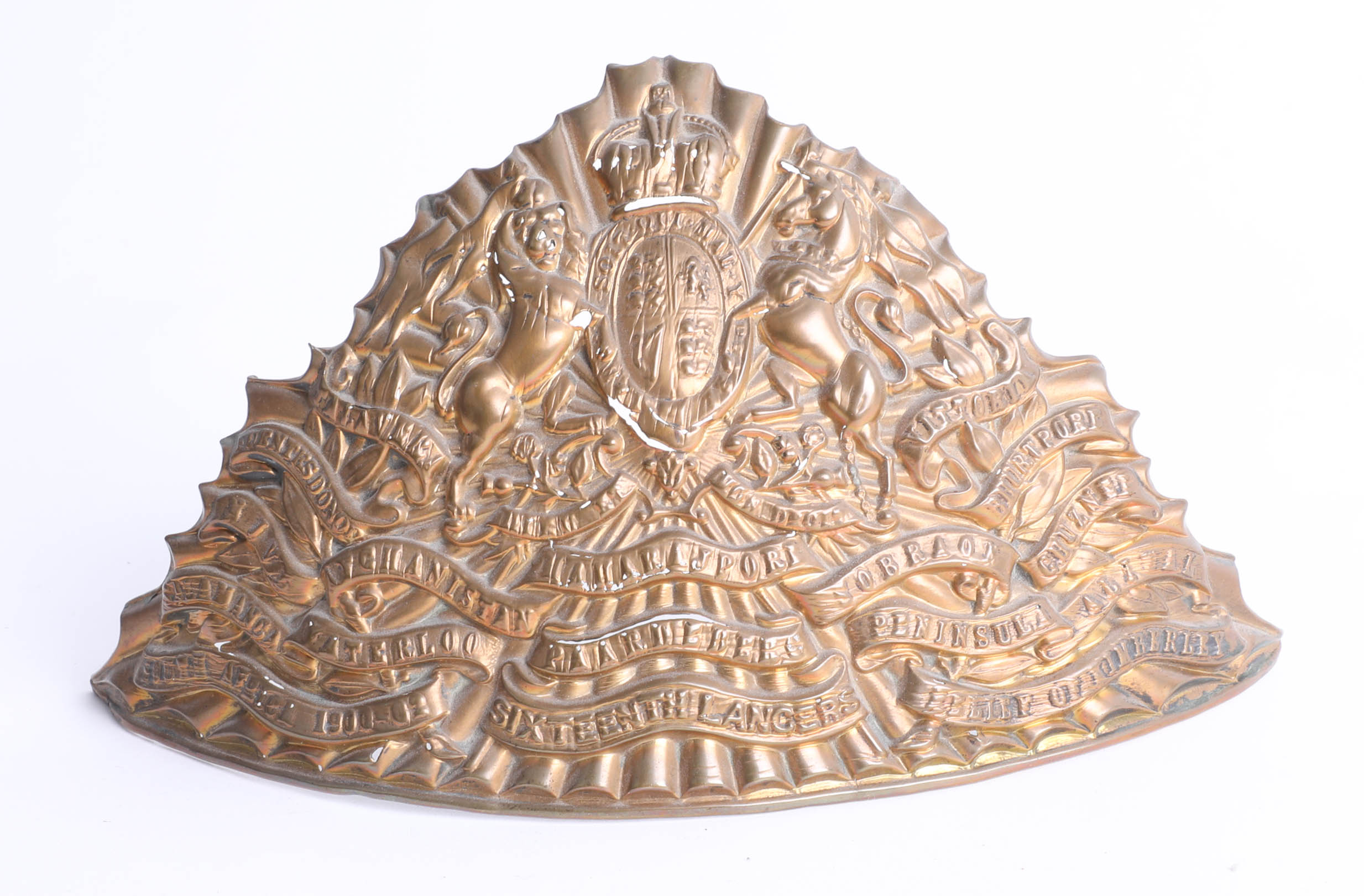 Lot 023 - A 19th century British 16th Lancers chapka plate badge. Part of the Late Reverend Geoffrey Garner