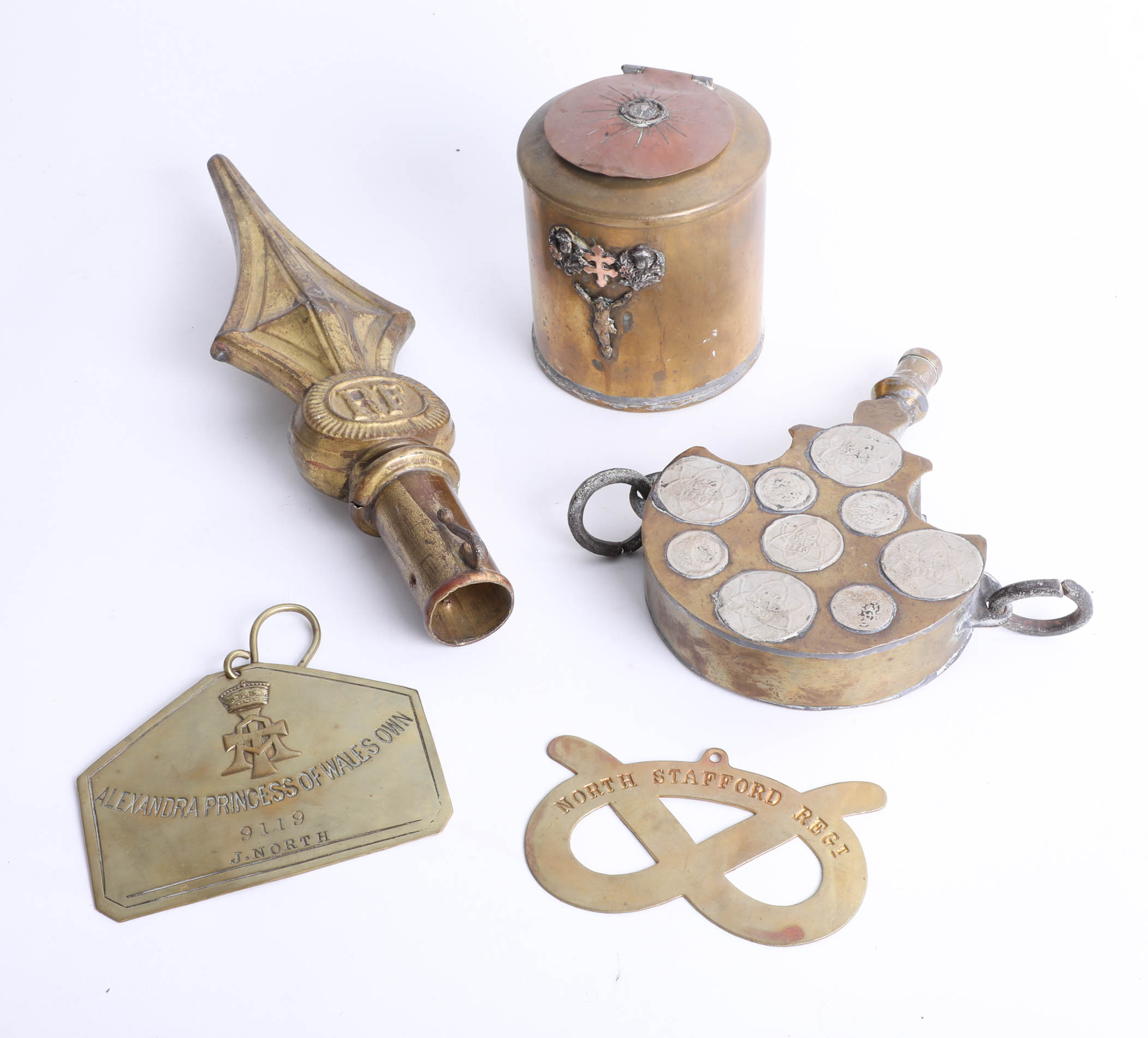 Lot 039 - A collection of objects including staff mount marked RF, unusual water flask with eastern silver