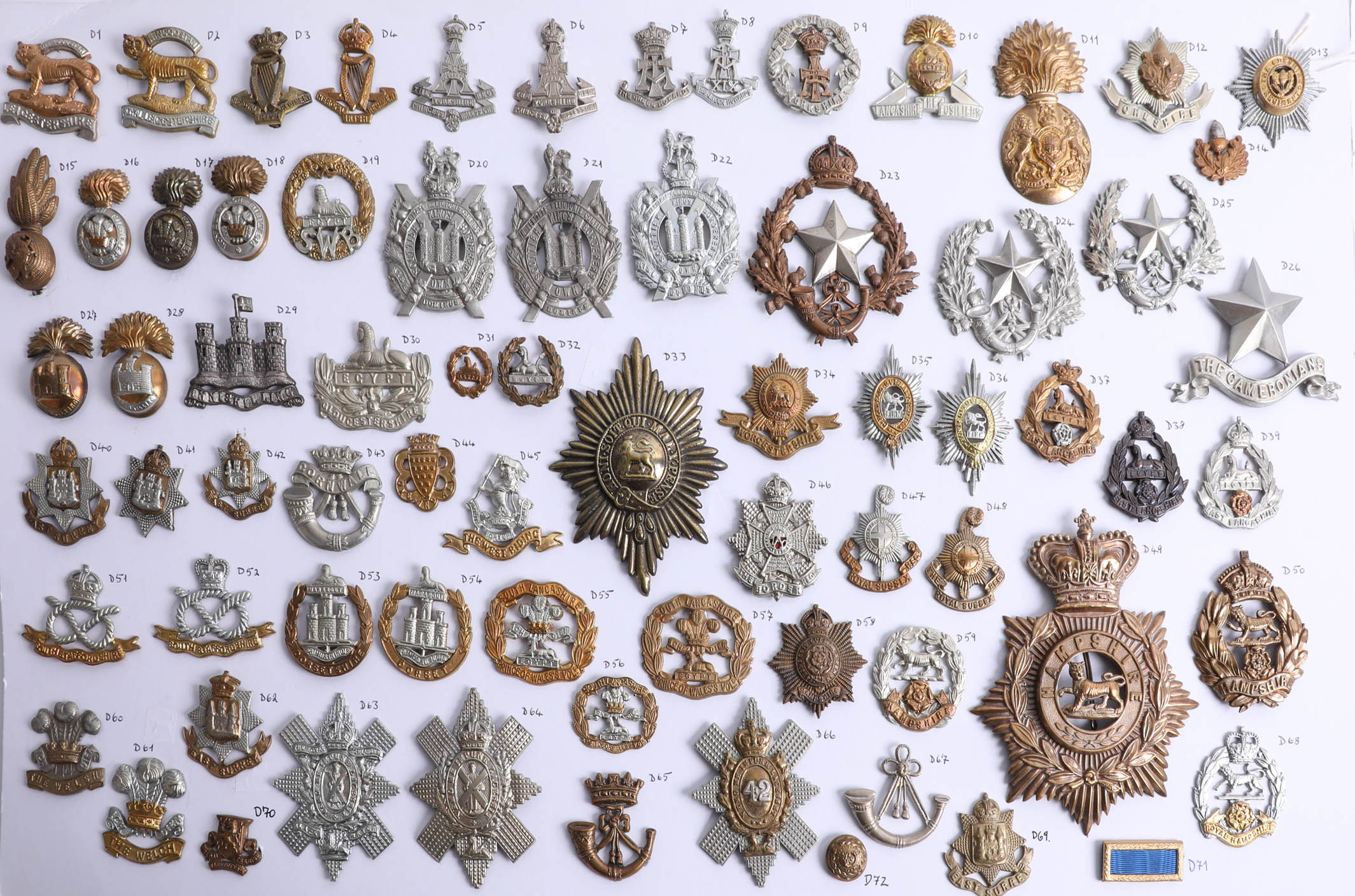 Lot 004 - A collection of approx. 72 military cap badges, including Royal Irish, Royal Scots and Royal Welsh