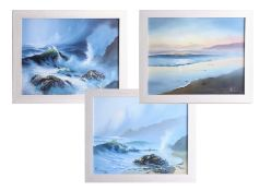 Roy Lang, 3 signed Seascapes, 40cm x 50cm, framed. Roy Land, (Cornish born) was voted artist of
