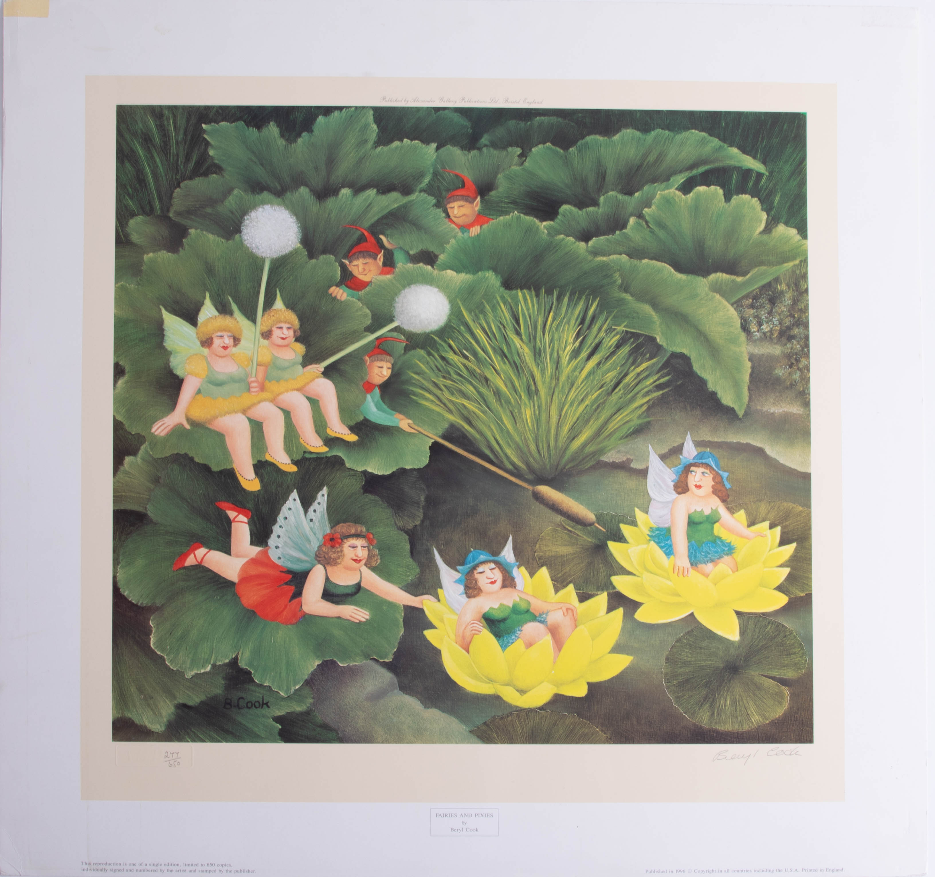 Lot 028 - Beryl Cook (1926-2008), 'Fairies and Pixies', signed limited edition print, No 277/650, published by