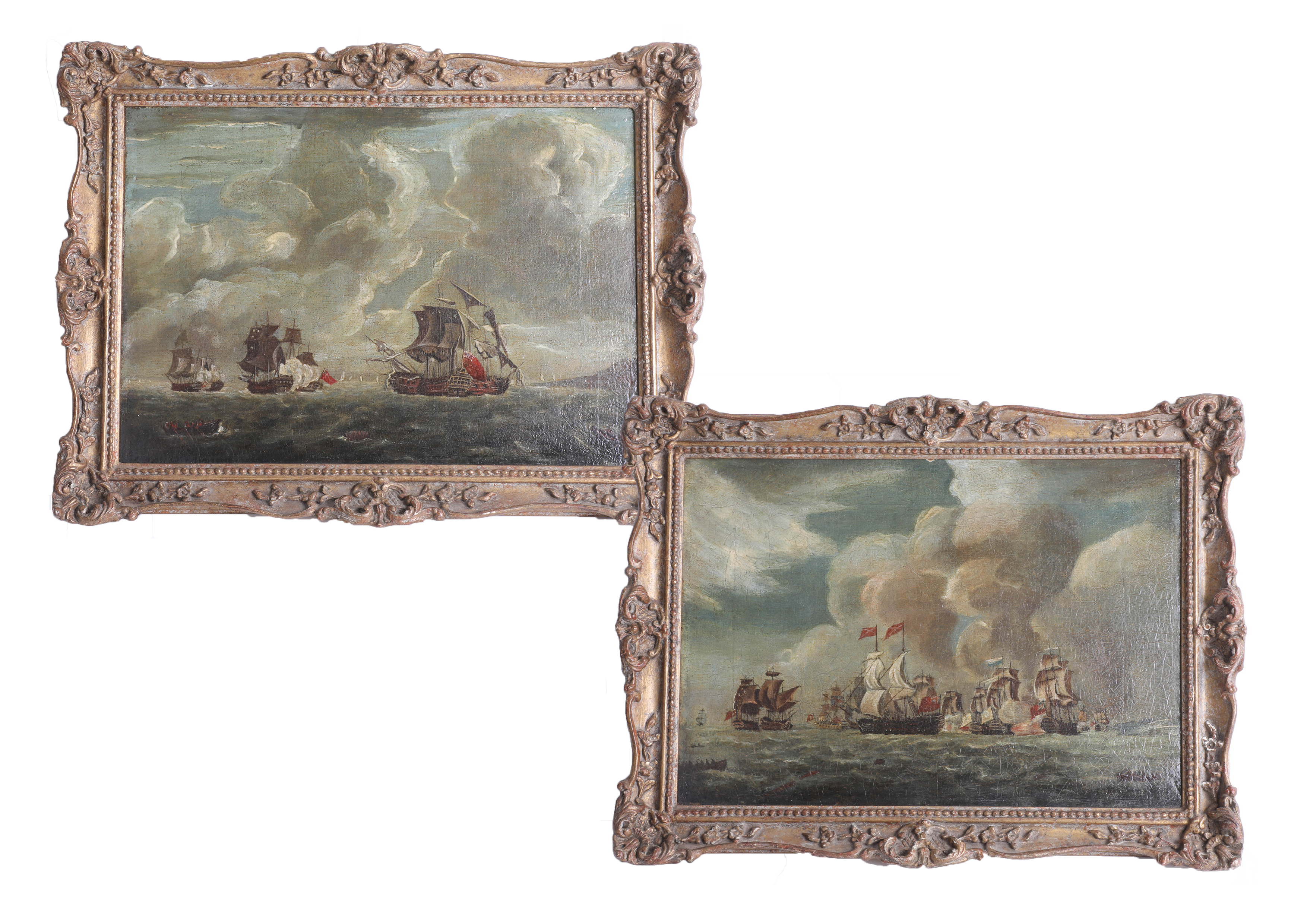 Lot 015 - A pair of naval battle paintings, oil on canvas, not signed, 20th Century, ornate gold frame, 23cm x