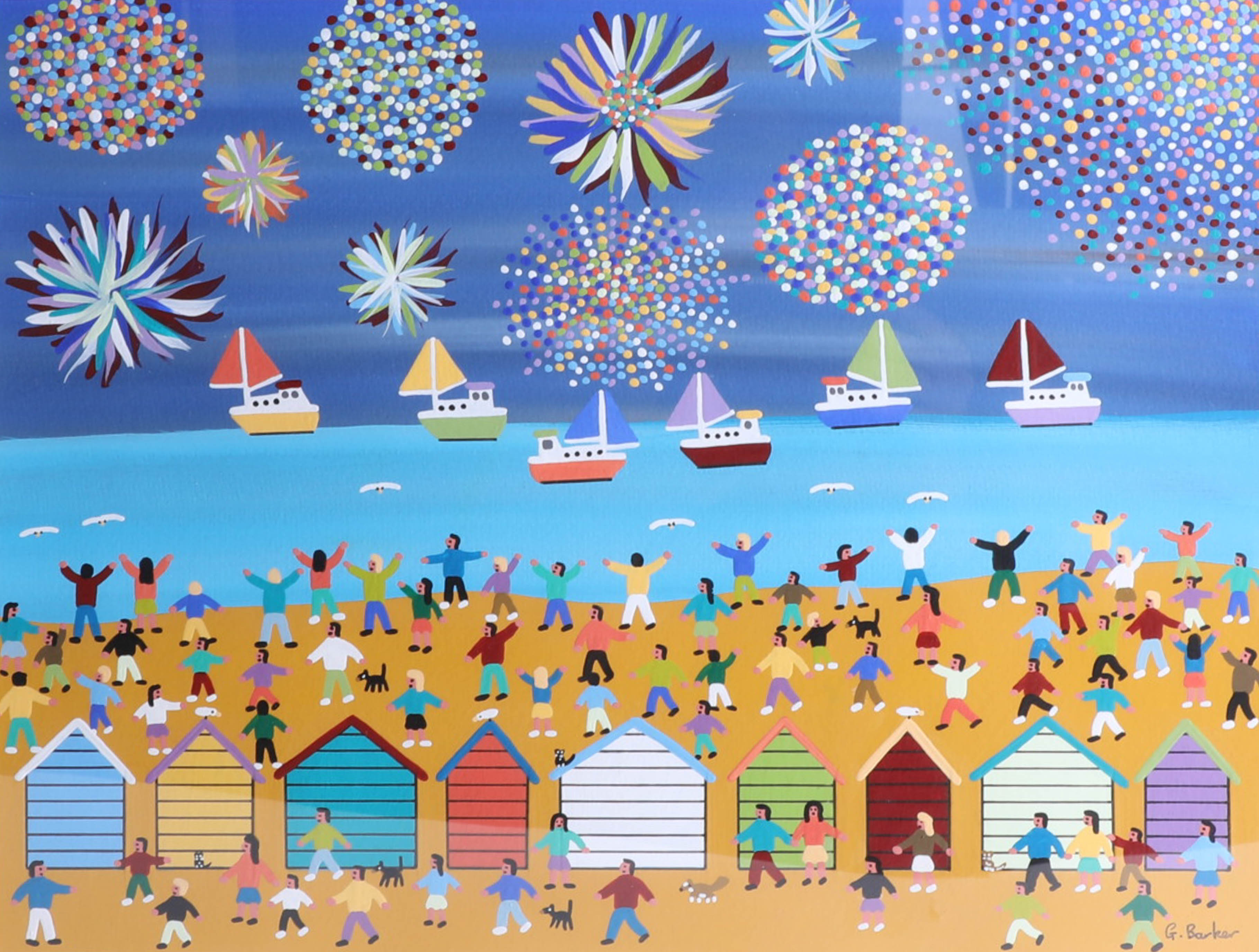 Lot 035 - Gordon Barker (contemporary Devon artist), acrylic on paper 'Amazing seaside fireworks', 29cm x